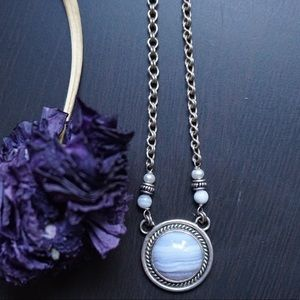 Vintage Necklace | Blue Lace Agate and Silver